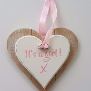 Gorgeous Wooden Hanging Hearts  – It's A Boy – It's A Girl – New Baby Gift Twins (SKU228)