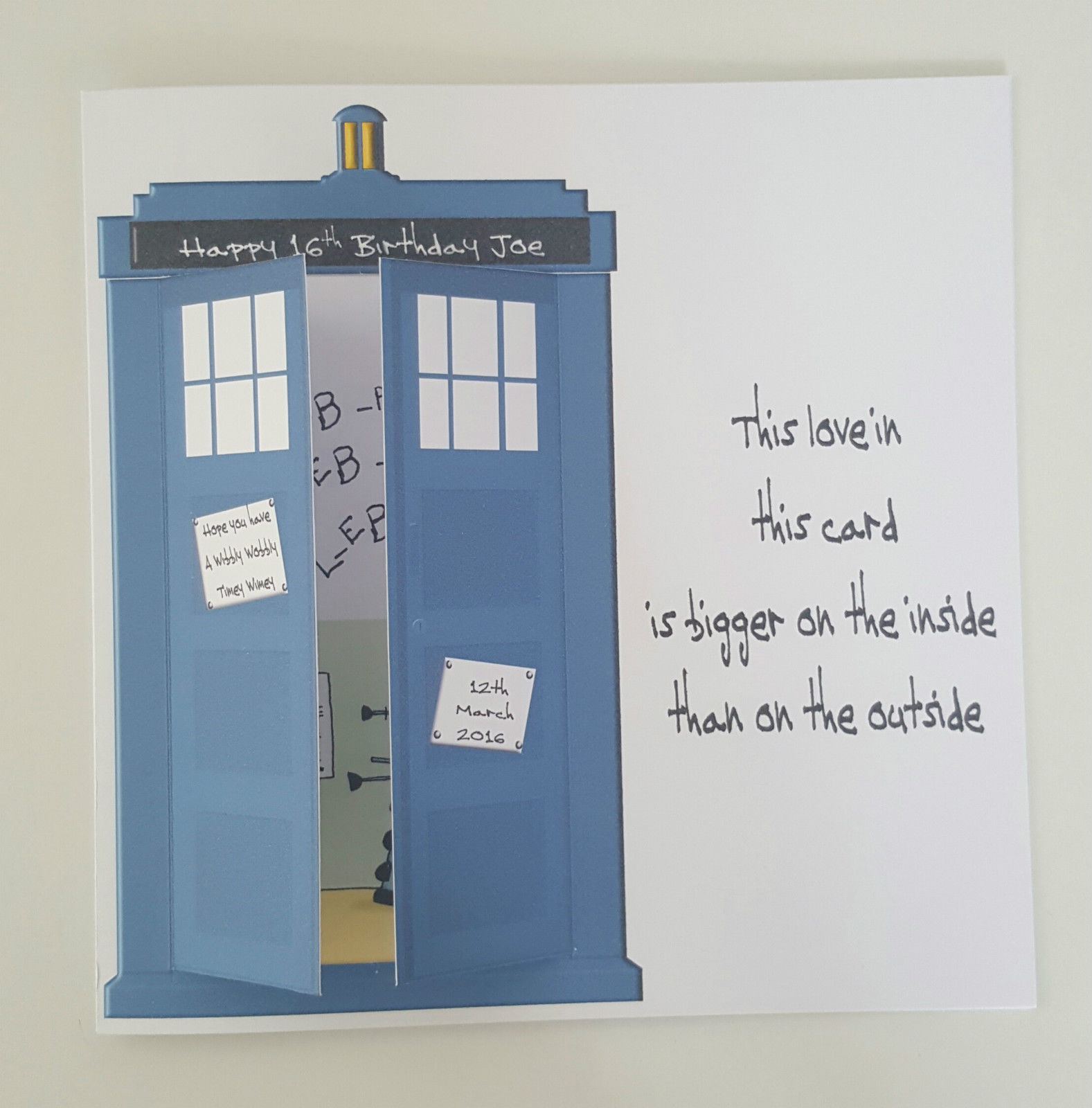 LARGE Dr Who Tardis 16th Birthday Card