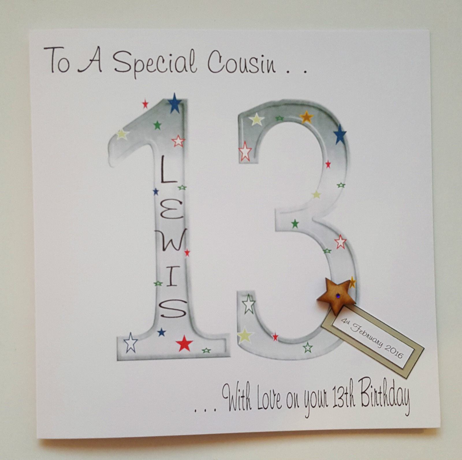 Large Personalised 13th Birthday Card Cousin Grandson Son