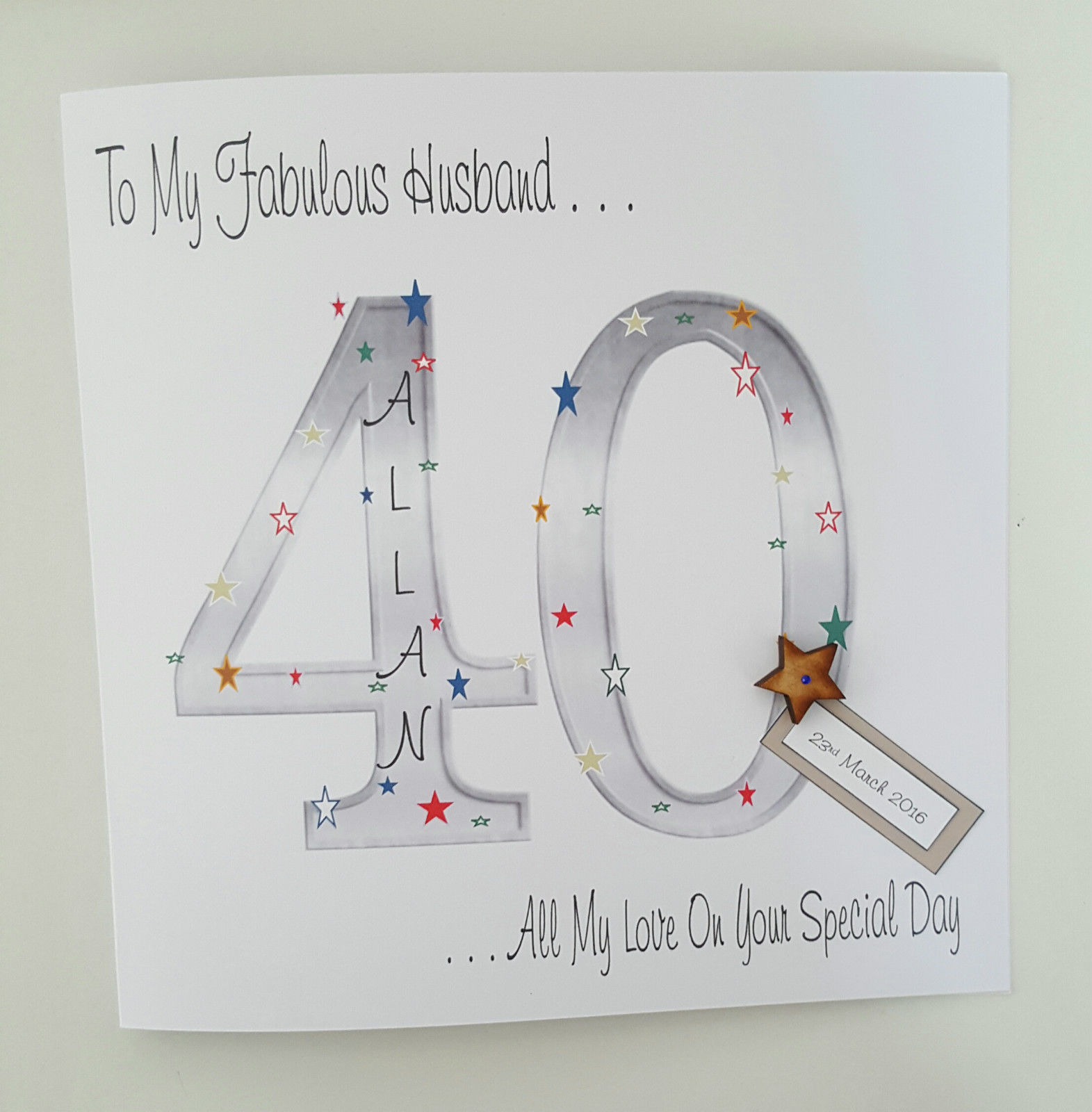 Large Personalised 40th Birthday Card Husband