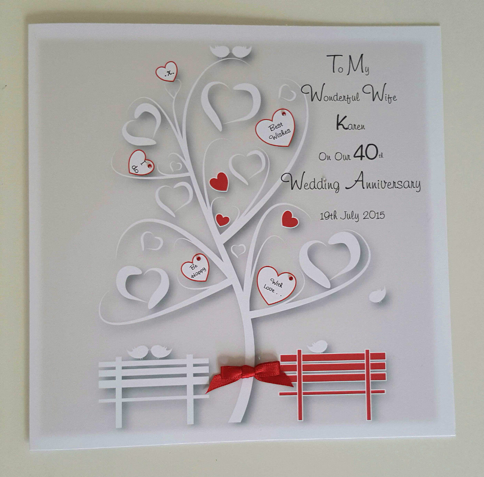 Ruby Wedding Gift Ideas For Husband: Large Personalised 40th Ruby Wedding Anniversary Card Wife