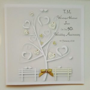 Personalised 8 x 8 Golden 50th Wedding Anniversary Card Husband Wife Any Relation Any Year Any Colour