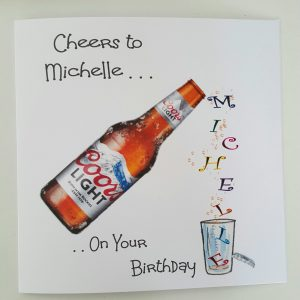 Personalised 8 x 8 Birthday Card Coors Light Mum Uncle Any Relation Any Age