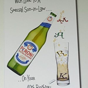 Personalised 40th Birthday Card Son in law Bottle Larger Beer IPA Ale Any Relation Any Age
