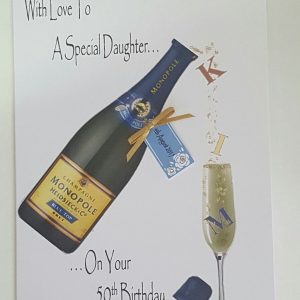 Personalised 50th Birthday Card Daughter Champagne Any Relation Any Age Any Tipple