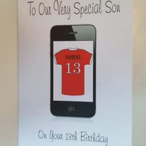 Personalised 11th Birthday Card Son iphone Any Relation Any Age Any Football Team