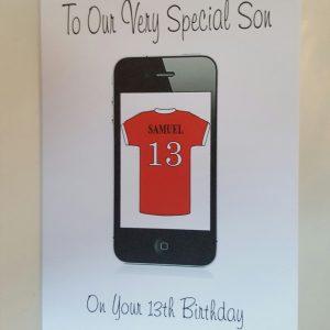 Personalised 13th Birthday Card Son Phone Football, Any Relation, Age, Football Team (SKU773)