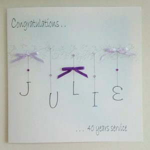 Personalised Congratulations Card 40 Years Of Service Any Milestone, Occasion Or Colour (SKU744)