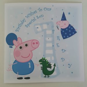 Personalised 8×8 1st Birthday Card Peppa Pig Son Any Relation Any Age