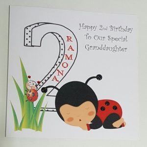 Personalised 8×8 2nd Birthday Card Ladybird Granddaughter Any Relation Any Age