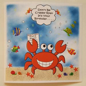 Large Personalised Birthday Card Crab Marine Fish Funny Dad / Brother / Son / Son In Law / Husband / Grandad