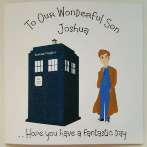 Personalised 8 x 8 Birthday Card Doctor Dr Who Theme Son Daughter Any Relation