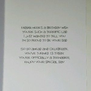 Personalised 13th Birthday Card Son Godson Grandson Football Any Age Team