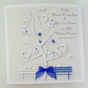 Personalised 20th Wedding Anniversary Card Daughter Son In Law Any Relation, Year Or Colour (SKU261)