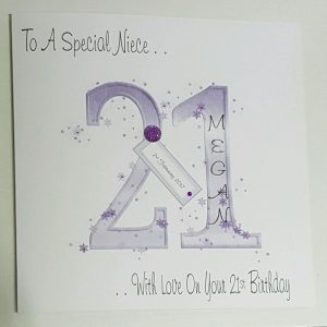 Personalised 21st Birthday Card Niece Sister Daughter Goddaughter Any Colour Age