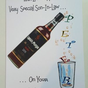 Personalised 40th Birthday Card Son in law Bottle of Rum Dad Grandad Any Age