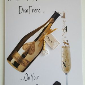 Personalised 50th Champagne Birthday Card Friend Any Person, Age Or Tipple (SKU0004)