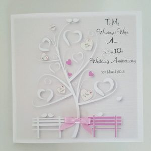 Personalised Anniversary Card Husband Wife 10th Any Year Any Colour