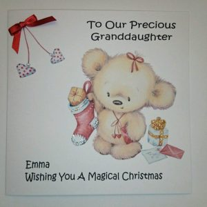 Personalised Baby's 1st Christmas Card Granddaughter Any Relation Any Age