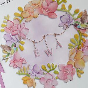 Personalised Birthday Card Freesia Humming Bird Wife Daughter Mum Sister Friend