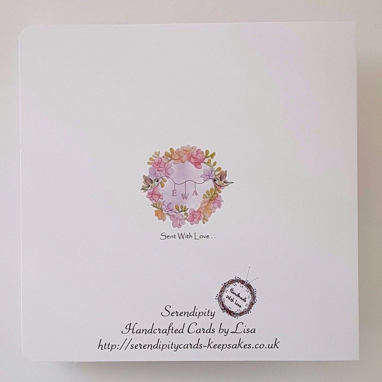 Personalised Birthday Card Freesia Humming Bird Wife Daughter