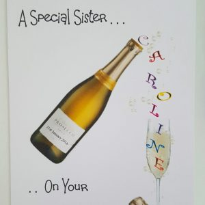 Personalised 40th Birthday Card Prosecco Sister Mum Granny Any Relation Any Age