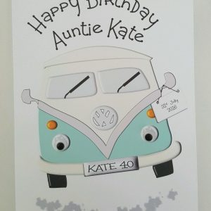 Personalised Large Birthday Card VW Campervan 40th Auntie – Any Person, Age Or Colour (SKU789)