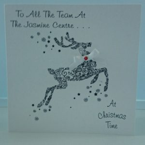 Personalised Christmas Card Christmas Reindeer Glitter Embellished Any Person