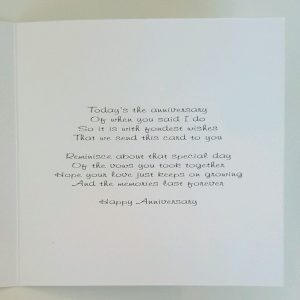 Personalised 1st Anniversary Card Daughter & Son In Law Any Relation Any Year Any Colour
