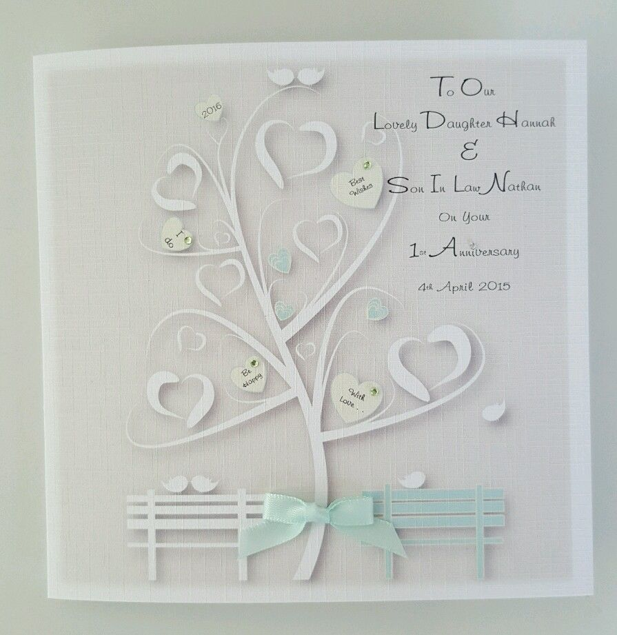 personalised 1st anniversary card daughter son in law