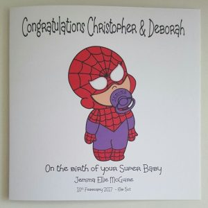 Personalised 8×8 New Baby Card Boy Girl Twins Triplets Spidergirl Spiderman Theme