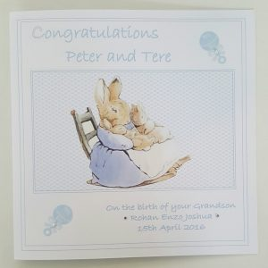 Personalised New Baby Christening Card Beatrix Potter Peter Rabbit Grandparents