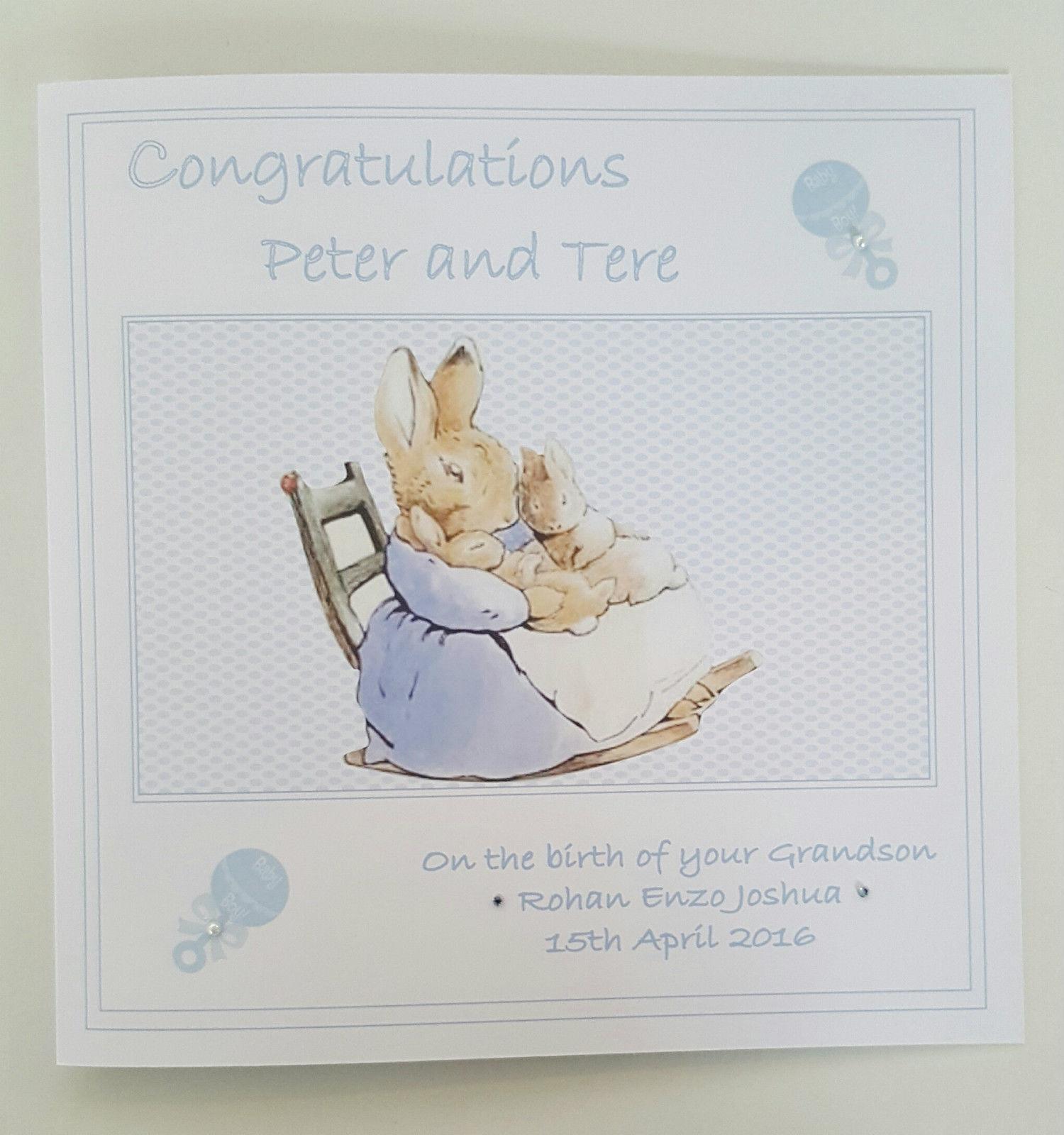 Beatrix Potter Peter Rabbit Design Personalised New Baby Boy Card