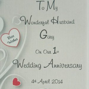 Personalised On Our Wedding Anniversary Card Wife Husband 1st 2nd 3rd Any Colour