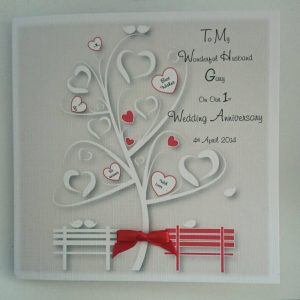 Personalised On Our 1st Wedding Anniversary Card Husband Or Wife  Any Colour (SKU824)