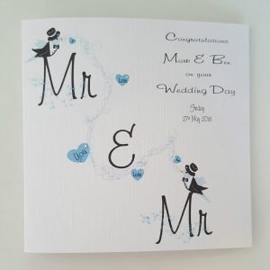 Personalised 6 x 6 Wedding Card Civil Partnership Same Sex Gay Marriage Any Relation Any Colour