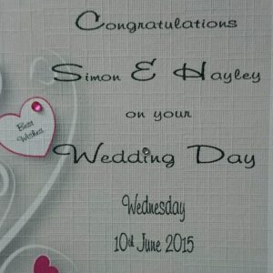Personalised Wedding Day Card Engagement Anniversary Any Relation Any Occasion Any Colour