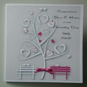 Personalised Wedding Day Card Cerise Pink Any Couple Or Colour (SKU763)