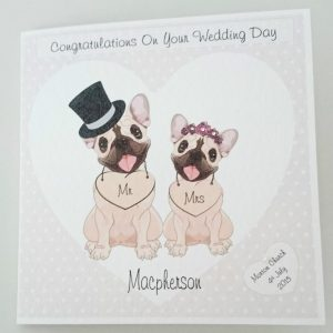Personalised 6 x 6 Wedding Day Card Hammered Texture French Bulldog Any Relation Any Occasion