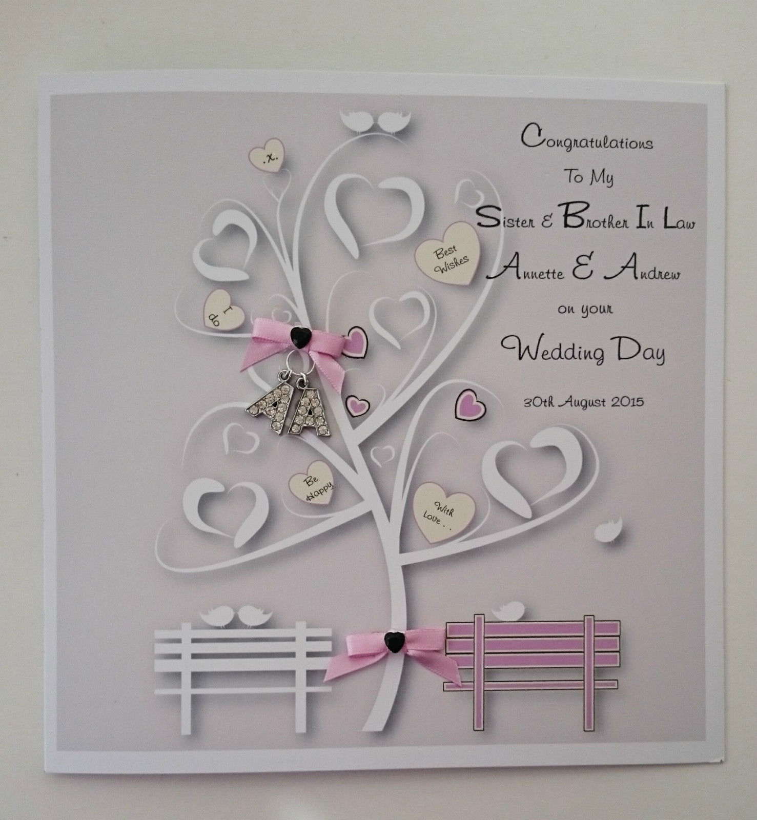 Personalised 8x8 Wedding Card//Money Wallet Any Colour Son Daughter BOXED OPTION