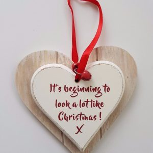 Gorgeous Wooden Christmas Decorations –  Hanging Hearts  – Baby's 1st Christmas