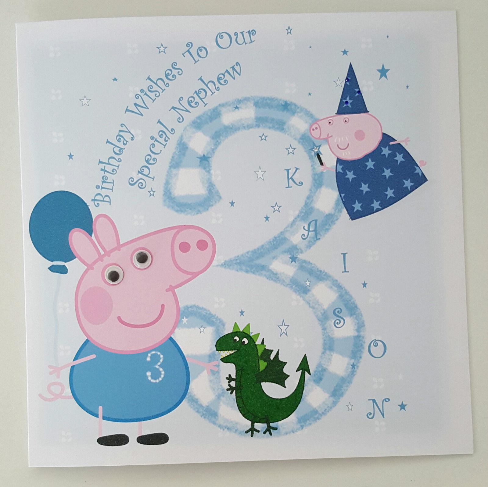 Large Personalised 3rd Birthday Card Peppa Pig Nephew Godson