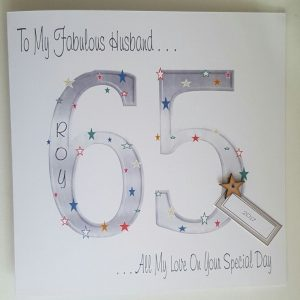 Personalised 8×8 65th Birthday Card Husband Any Relation Any Age Any Colour