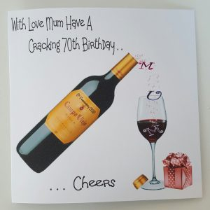 Large Personalised Birthday Card 70th Mum Sister Red Wine Any Age Person Bottle