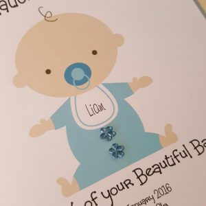 Large Personalised New Baby Boy Birth or Christening Embellished Card Twin