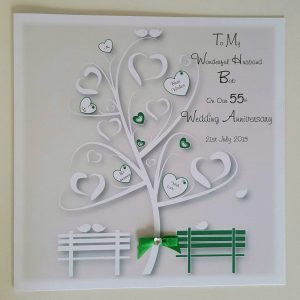 Personalised Emerald 55th Anniversary Card Wife Husband Any Year Or Colour (SKU705)