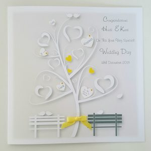 Personalised 8 x 8 Wedding Day Card Yellow Charcoal Grey Any Occasion Any Colour