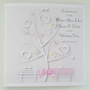 Personalised Wedding Day Card Pink Ivory Brother Sister In Law  Any Relation  Any Colour  (SKU820)