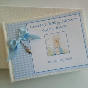 Personalised Guest Book Gift Boxed Christening Boy Girl Beatrix Potter Theme