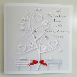 Personalised 10th Anniversary Card (Tin) Husband Wife Any Person Any Year Any Colour